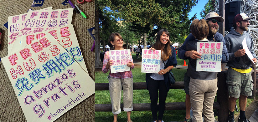 People Spread Love gives FREE HUGS on Town Square during Jackson Hole Farmers Market